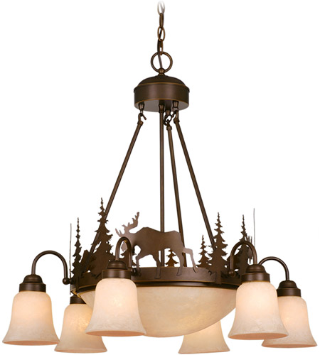 Vaxcel Burnished Bronze Yellowstone Chandeliers