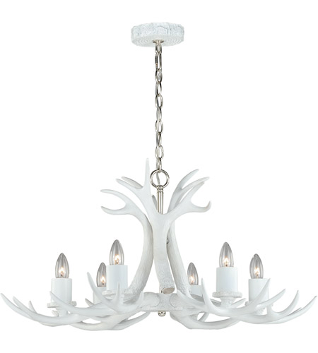 Vaxcel White and Polished Nickel Chandeliers