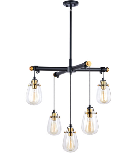 Vaxcel H0184 Kassidy 5 Light 27 inch Black and Natural Brass Chandelier Ceiling Light photo