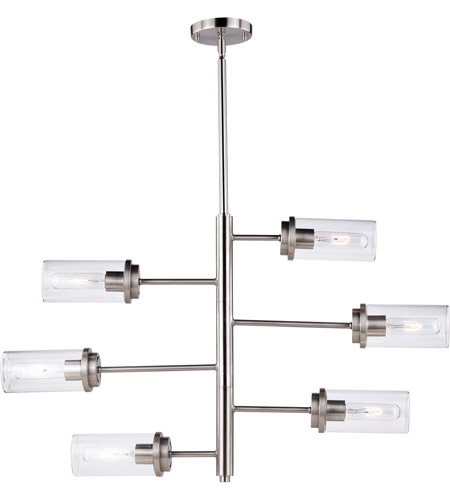 Vaxcel H0193 Kimball 6 Light 32 inch Satin Nickel Chandelier Ceiling Light photo