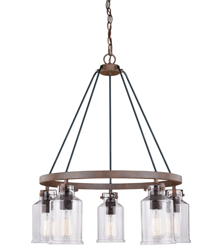 Vaxcel H0198 Milone 5 Light 26 inch Textured Rustic Bronze Chandelier Ceiling Light photo