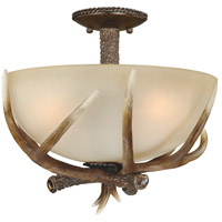 Yoho 3 Light 17 inch Black Walnut Semi-Flush Mount Ceiling Light