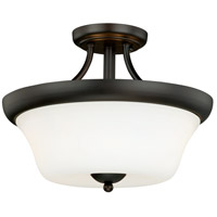 Poirot 2 Light 15 inch New Bronze Semi-Flush Mount Ceiling Light