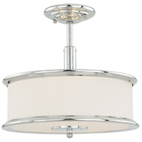 Carlisle 3 Light 14 inch Chrome Semi-Flush Mount Ceiling Light