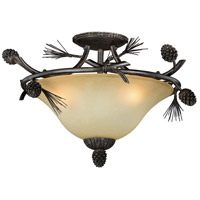Sierra 3 Light 18 inch Black Walnut Semi-Flush Mount Ceiling Light