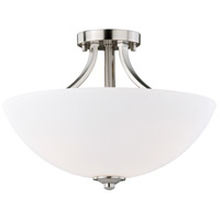 Vaxcel C0130 Mea 3 Light 16 inch Satin Nickel Semi-Flush Mount Ceiling Light
