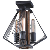 Dearborn 4 Light 13 inch Black Iron with Burnished Oak Semi-Flush Mount Ceiling Light