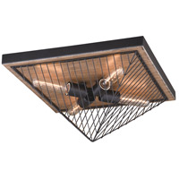 Dearborn 4 Light 16 inch Black Iron with Burnished Oak Flush Mount Ceiling Light