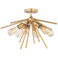 Estelle 6 Light 24 inch Natural Brass Semi-Flush Mount Ceiling Light