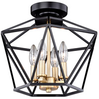 Turin 4 Light 15 inch Noble Bronze with Natural Brass Semi-Flush Mount Ceiling Light