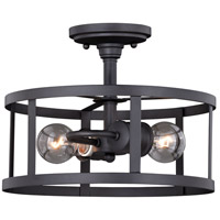Akron 2 Light 12 inch Oil Rubbed Bronze and Inner Matte White Semi-Flush Mount Ceiling Light