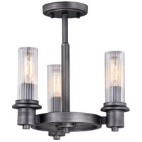 Vaxcel C0217 Astor 3 Light 14 inch Brushed Slate Semi-Flush Mount Ceiling Light