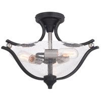 Vaxcel C0223 Seville 2 Light 17 inch Textured Graphite and Satin Nickel Semi-Flush Mount Ceiling Light