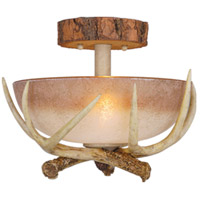 Lodge 2 Light 12 inch Noachian Stone Semi-Flush Mount Ceiling Light