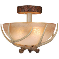 Lodge 3 Light 16 inch Noachian Stone Semi-Flush Mount Ceiling Light