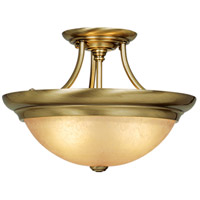 Signature 3 Light 15 inch Antique Brass Semi-Flush Mount Ceiling Light