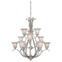 Vaxcel CH35412BN Monrovia 12 Light 38 inch Brushed Nickel Chandelier Ceiling Light