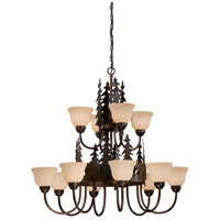 Vaxcel CH55712BBZ Bozeman 12 Light 39 inch Burnished Bronze Chandelier Ceiling Light