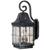 Edinburgh 3 Light 23 inch Textured Black Outdoor Wall Light