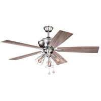 Clybourn 52 inch Satin Nickel with Driftwood/Walnut Blades Ceiling Fan