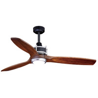 Curtiss 52 inch Matte Black and Brushed Silver with Walnut Blades Ceiling Fan