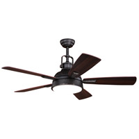 Vaxcel F0060 Walton 52 inch Gold Stone with Dark Bronze and Mocha Blades Ceiling Fan, Integrated Dimmable Remote