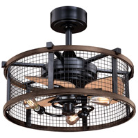 Vaxcel F0061 Humboldt 21 inch Oil Rubbed Bronze and Burnished Teak with Anigre Blades Ceiling Fan, Integrated Dimmable Remote