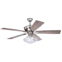 Huntley 52 inch Satin Nickel with Driftwood and Dark Maple Blades Ceiling Fan, Integrated Dimmable Remote