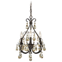 Signature 3 Light 13 inch Gold Flake Bronze Mini Chandelier Ceiling Light