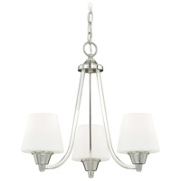 Calais 3 Light 18 inch Satin Nickel Mini Chandelier Ceiling Light