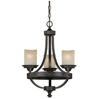Halifax 3 Light 18 inch Black Walnut Mini Chandelier Ceiling Light