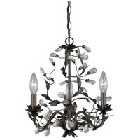 Trellis 3 Light 14 inch Architectural Bronze with Gold Accents Mini Chandelier Ceiling Light