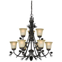 Vaxcel H0171 Sierra 9 Light 31 inch Black Walnut Chandelier Ceiling Light