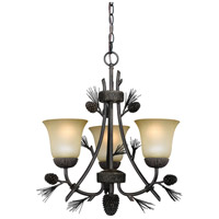 Vaxcel H0172 Sierra 3 Light 20 inch Black Walnut Mini Chandelier Ceiling Light