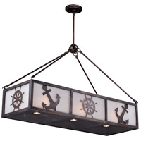 Vaxcel H0177 Nautique 9 Light 39 inch Sterling Bronze Linear Chandelier Ceiling Light