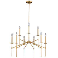 Vaxcel H0180 Kedzie 9 Light 32 inch Natural Brass Chandelier Ceiling Light