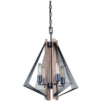 Dearborn 4 Light 18 inch Black Iron with Burnished Oak Mini Chandelier Ceiling Light