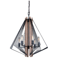 Vaxcel H0182 Dearborn 6 Light 25 inch Black Iron with Burnished Oak Chandelier Ceiling Light