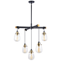 Black and Natural Brass Steel Chandeliers