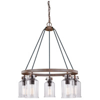 Vaxcel H0198 Milone 5 Light 26 inch Textured Rustic Bronze Chandelier Ceiling Light
