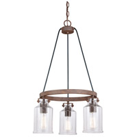 Vaxcel H0199 Milone 3 Light 20 inch Textured Rustic Bronze Mini Chandelier Ceiling Light