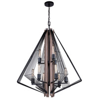 Dearborn 9 Light 29 inch Black Iron with Burnished Oak Chandelier Ceiling Light