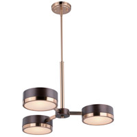 Madison 3 Light 23 inch Architectural Bronze with Natural Brass Chandelier Ceiling Light