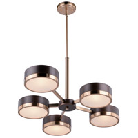 Madison 5 Light 30 inch Architectural Bronze with Natural Brass Chandelier Ceiling Light