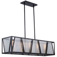 Vaxcel H0224 Oslo 5 Light 37 inch Black with Natural Brass Linear Chandelier Ceiling Light