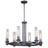 Vaxcel H0227 Astor 6 Light 26 inch Brushed Slate Chandelier Ceiling Light