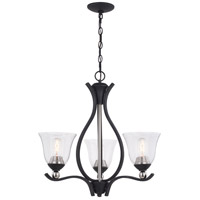 Vaxcel H0232 Seville 3 Light 24 inch Textured Graphite and Satin Nickel Chandelier Ceiling Light