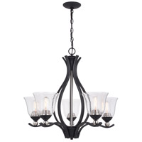 Vaxcel H0233 Seville 5 Light 27 inch Textured Graphite and Satin Nickel Chandelier Ceiling Light
