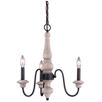 Vaxcel H0235 Georgetown 3 Light 19 inch Vintage Ash and Oil Burnished Bronze Mini Chandelier Ceiling Light