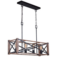 Colton 4 Light 31 inch Rustic Oak with Noble Bronze Linear Chandelier Ceiling Light